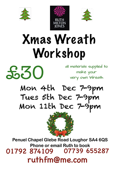 Christmas Wreath Making Workshops with Ruth Milton Jones, Swansea