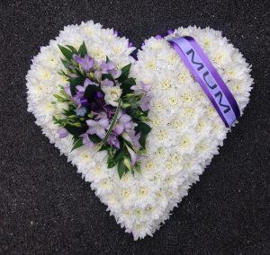 Funeral Flowers Swansea - Based Heart - £75 / £95