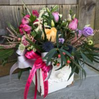 Mother's Day Flowers set in vintage wooden drawer